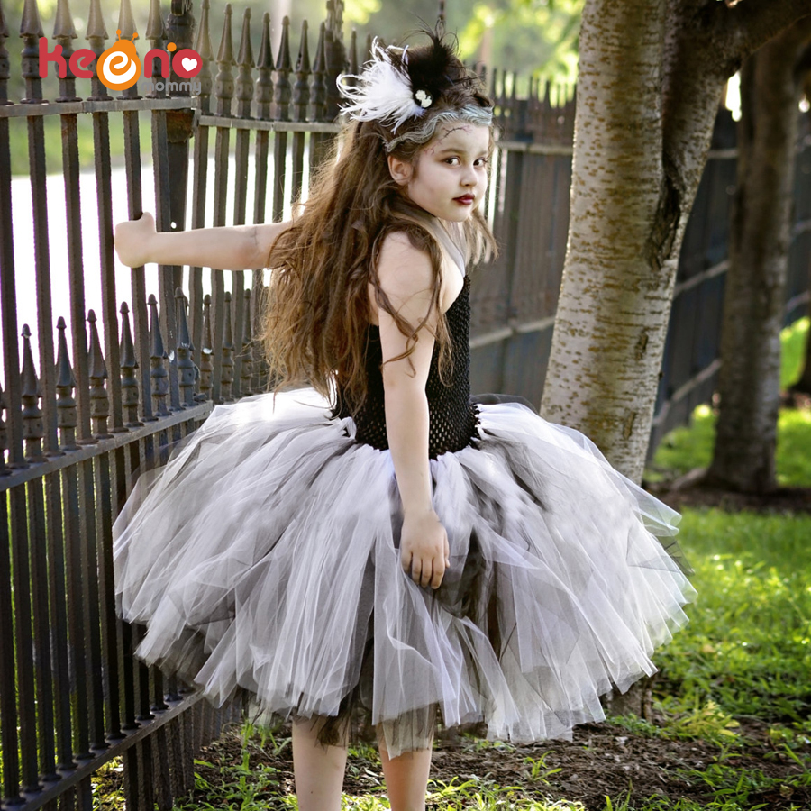 Keenomommy Black White Girls Bride Of Frankenstein Tutu Dress Children Halloween Costume Scary Monster Pageant Gown TS132