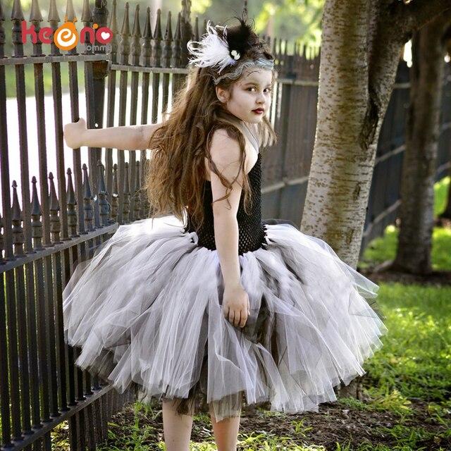 Préférence Keenomommy Noir Blanc Filles Mariée De Frankenstein Tutu Robe  PY05