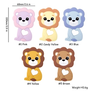 Image 5 - Vamos fazer 20pc bebê silicone mordedor bpa livre silicone para chupeta corrente dos desenhos animados leão bebê colar acessórios do bebê teeher