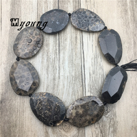 Oval Faceted Brown Chrysanthemum stone slice beads,Natural Coral Gem Stone Sediment Slab Pendant Beads for jewelry MY1519