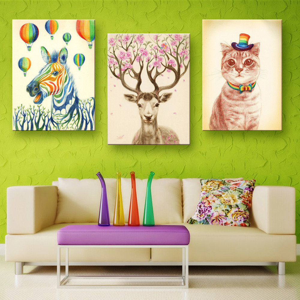 Buy 3 Pieces Animal Wall Art Canvas Painting On Wall Horse Deer Cat Wall
