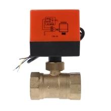 лучшая цена Electric Motorized Brass Ball Valve DN20 AC 220V 2 Way 3-Wire with Actuator