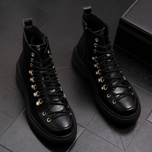 Brytyjski styl mężczyzna oryginalne skórzane buty party klub sukienka czarny botki do kostki sznurowane cowboy buty platformy sapatos hombre