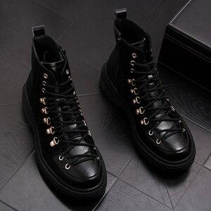 Image 1 - Estilo britânico homens couro genuíno botas vestido de festa boate sapatos de plataforma preto botas de tornozelo lace up cowboy sapatos hombre