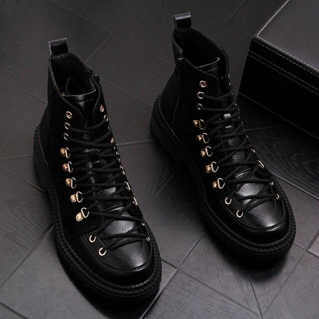 Estilo britânico homens couro genuíno botas vestido de festa boate sapatos de plataforma preto botas de tornozelo lace up cowboy sapatos hombre