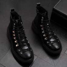 Stile britannico mens del cuoio genuino stivali vestito da partito locale notturno pattini della piattaforma nero stivaletti alla caviglia lace up cowboy sapatos hombre