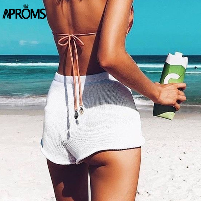 Aproms Summer Solid Color Knitted High Waist Shorts Women 2019 Boho Cools Girls Streetwear Beach Elastic Shorts Female Bottoms