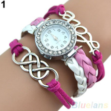 Vintage Eight Love Charm Leather Band Bracelet WristWatches 1U8U 4NCF