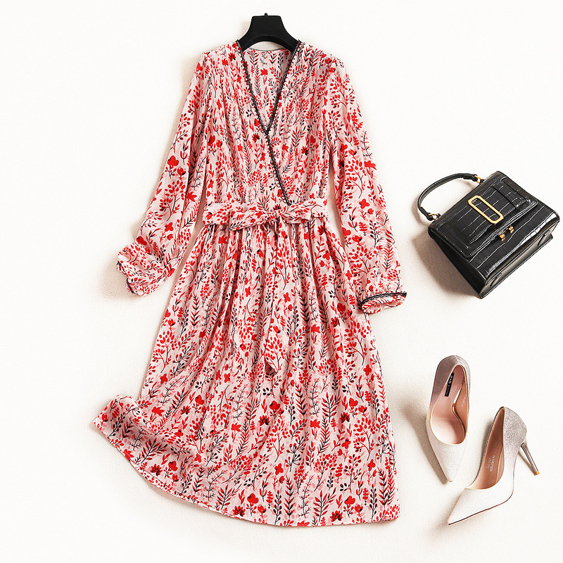 High End Vestidos 100% Silk Dress Women Spring 2019 New Europe V Neck Long Sleeve Lacing Tie Bowknot Printed Silk Dress