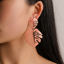 Cross-border European and American style simple leaf earrings Fashion personality colorful turtle back hollow