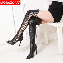 MORAZORA 2019 newest summer boots women high heels boots sexy hollow out party prom shoes women gladiator over the knee boots