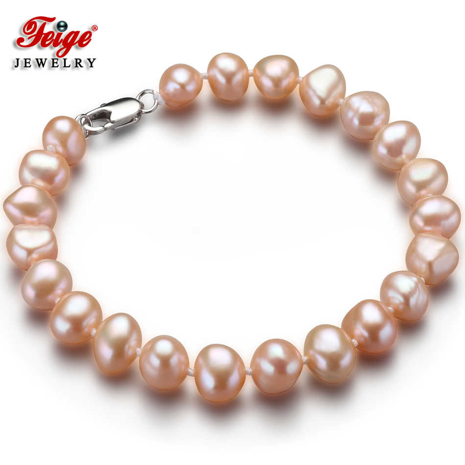 Natural Pink Baroque Pearl Bracelet for Woman Fine Jewelry Gifts 7-8MM Freshwater Pearl Handmade Jewellery Dropshipping FEIGE