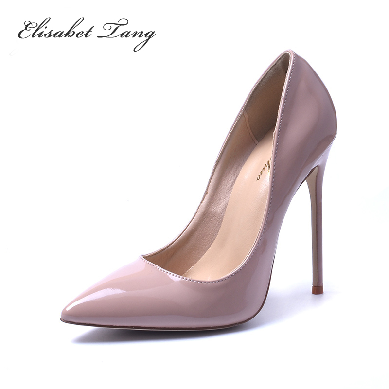 2017 Zapatos Mujer Brand Shoes Woman High Heels 12cm Women Pumps Stiletto Thin Heel Women's Nude Pointed Toe Size 35-41