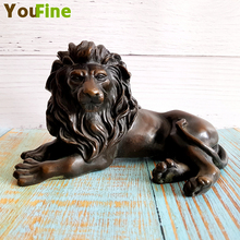 Bronze Lion Sculpture Small Animal Desktop Decoration Simulation Wild Home Gift