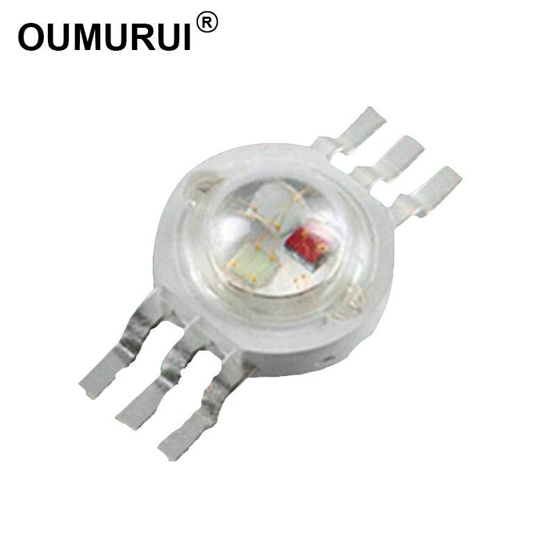 100pcs 3W LED RGB High power LED Lamp bulbs RGB Six Legs 350mA 3.2-3.4V Taiwan Genesis/HPO Chips Free shipping zauber genesis d six