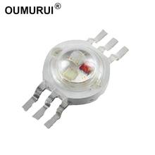 100pcs 3W LED RGB High power LED Lamp bulbs RGB Six Legs 350mA 3.2-3.4V Taiwan Genesis/HPO Chips Free shipping