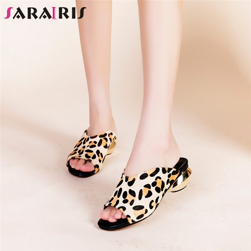 SARAIRIS Shqallow-Shoes Mules Strange-Style Office Party Leopard Big-Size Woman Brand-New