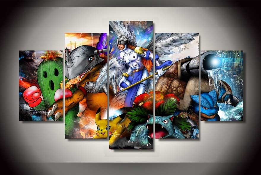 5 Pieces Oil Painting Unframed Digimon Pokemon Comics On Canvas Room Decoration Print Picture Living House Decor-in Painting u0026 Calligraphy from Home ... & 5 Pieces Oil Painting Unframed Digimon Pokemon Comics On Canvas Room ...