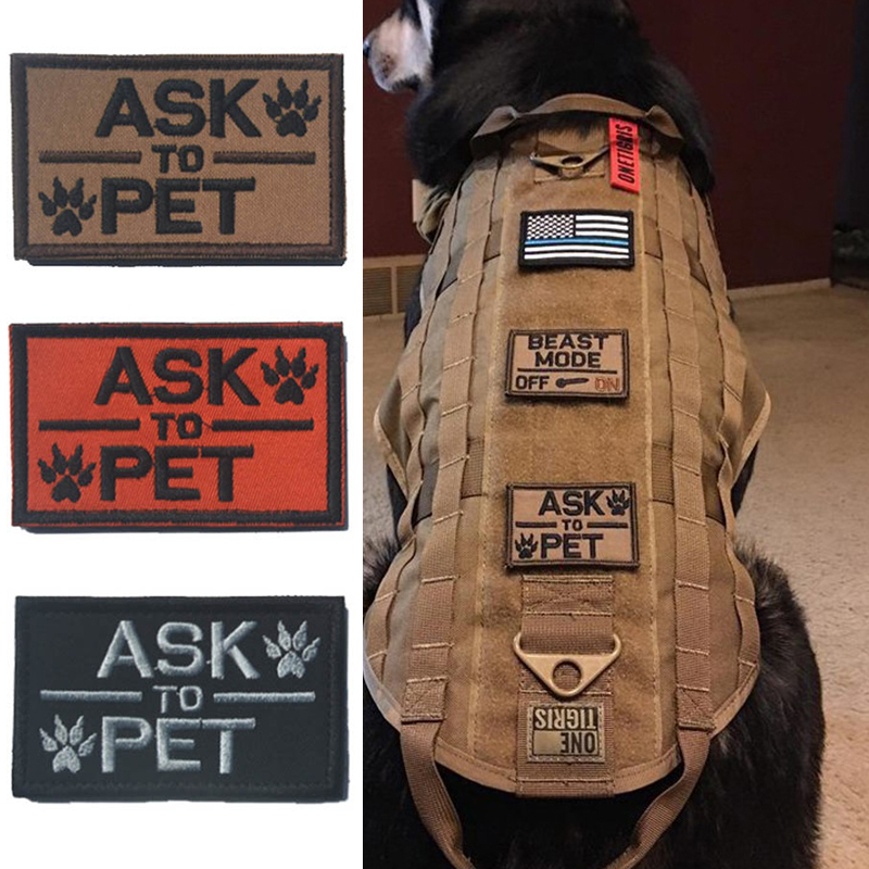 3 Pieces Tactical Ask To Pet Patch Morale Military Patch K9 Service Dog Patches Canine Police Training For Vest Harness Backpack Patch K9 Patch Moralepatch Military Aliexpress