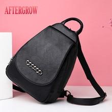 купить 2019 Luxury Women Leather Backpack Vintage Female Shoulder Bag sac a dos Travel Backbag Ladies Mochilas Girls Preppy School Bags онлайн