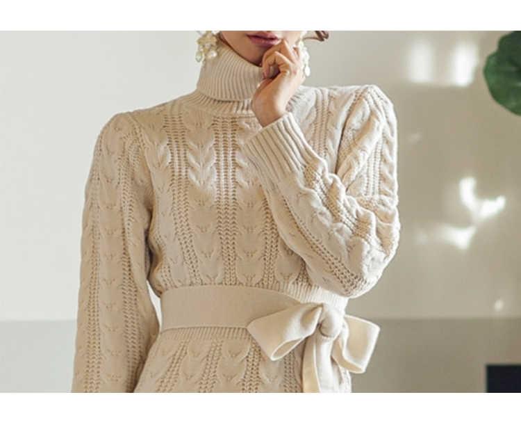 SMTHMA נשים החורף לסרוג שמלות 2020 אירופה ארוך שרוול גולף מקרית Slim חם סוודר שמלת נשים של בגדי סוודרים