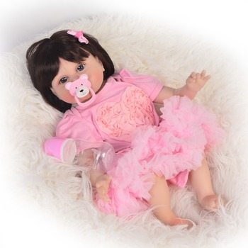 """55cm handmade doll Silicone Doll Reborn Baby 22"""" Toy For baby Newborn Baby Birthday Gift For Child Bedtime Early Education"""