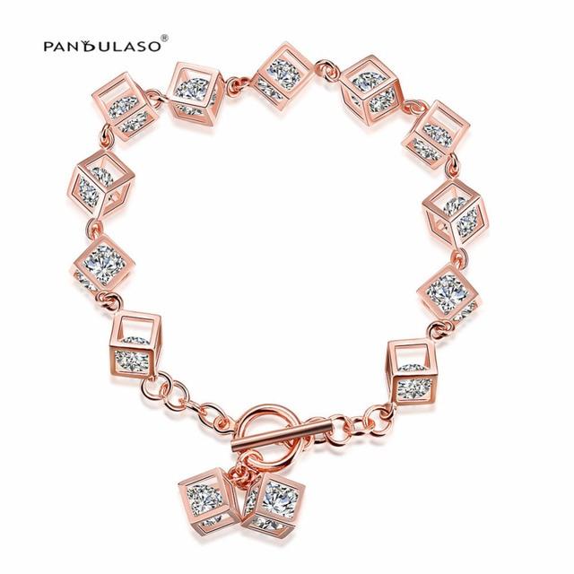 7a0663960d94 2016 Nueva 925-Silver-Jewelry Pulsera Chapado En Oro Pavimentada CZ Piedras  Cubos Beads. Sitúa el cursor encima para hacer zoom