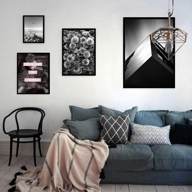 Nordic Hitam Putih Tenang Laut Gadis Landscape Kanvas Lukisan Gambar Dinding Untuk Ruang Tamu Wall Art