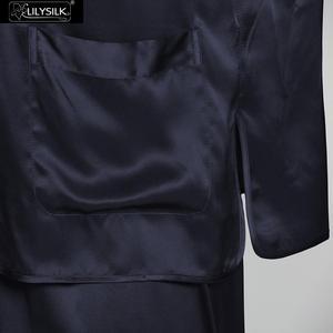 Image 3 - LilySilk 100 Silk Pajamas Set For Men Sleepwear 22 momme Long Sleeve V Neck Elastic Waist Chinese Button Male Free Shipping