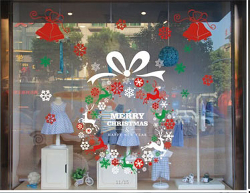 2015 Christmas Decorations Stickers Decorate Glass Door Window Stickers  Wall Paste Paper Cut Window Snowflakes Window Stickers In Christmas From  Home ...
