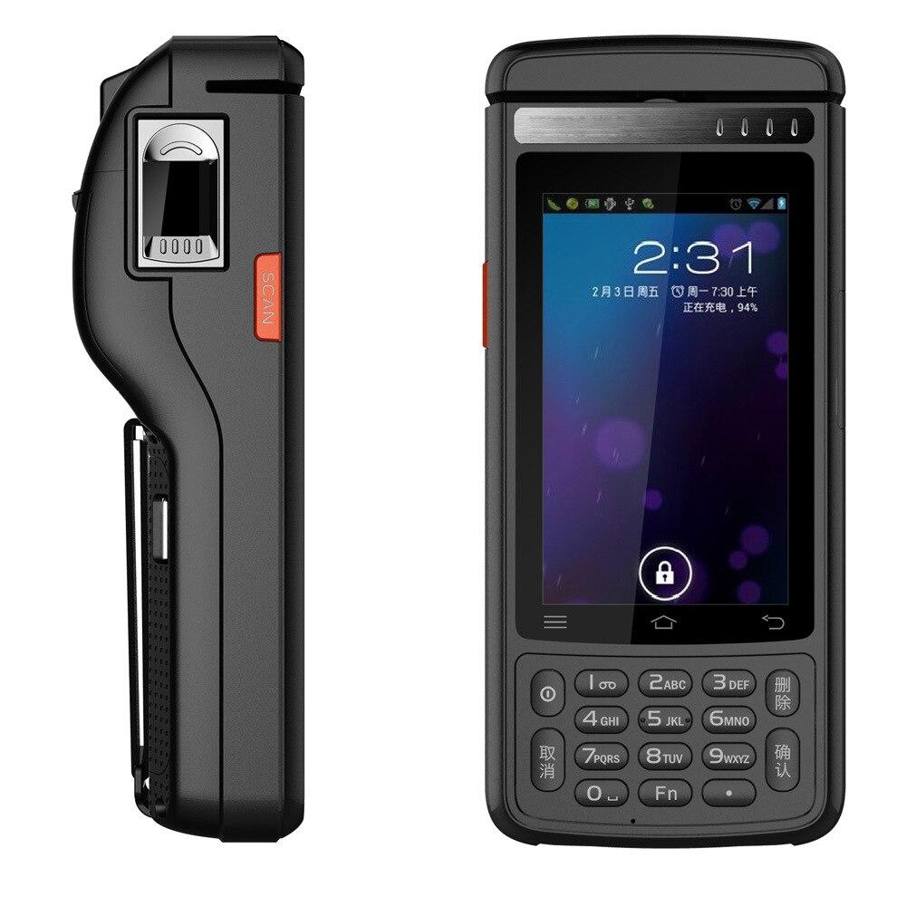 2017 4G Lte Android 6.0 Téléphone Étanche De Poche Terminal 58mm Imprimante Laser Barcode Scan HF RFID D'empreintes Digitales MSR Lecteur de carte