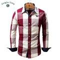 SELVA ZONA tamaño Europeo diseño de la tela escocesa de los hombres camisa de manga larga camisa casual 100% cotton cómodo rosa camisas FM099