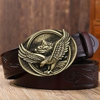 Fashion vintage eagle style Plate buckle belts for women high quality leather belt men cinturones hombre stylish girdle jeans