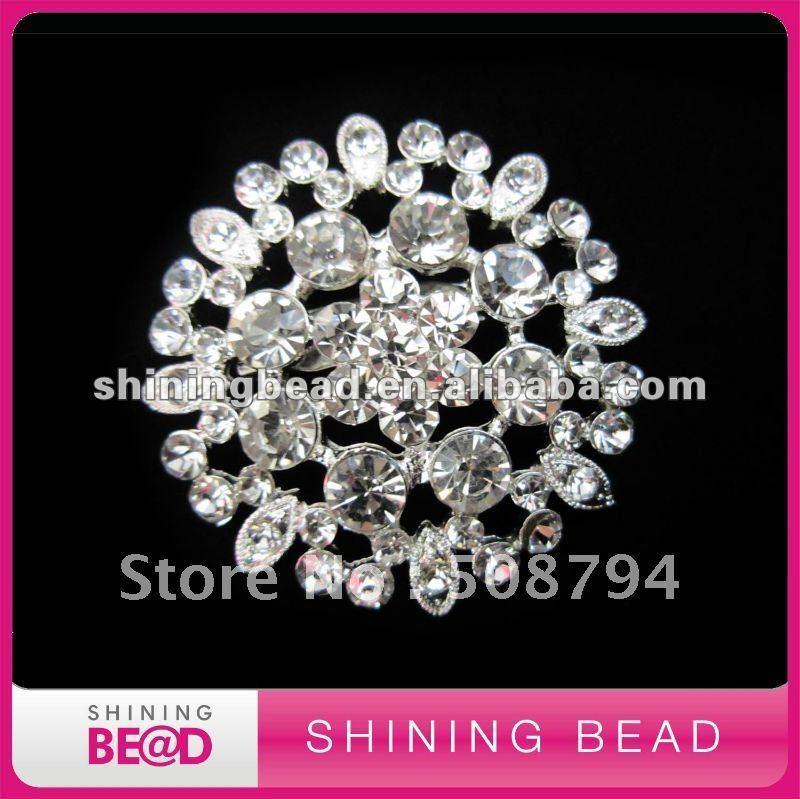 hot sale rhinestone brooch pin for wedding invitation,sliver brooch,free shipping,45mm rhinestone brooch for party decoration