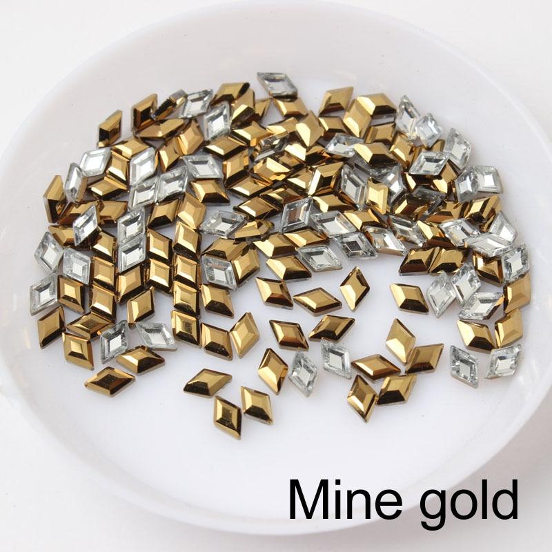 30/100 шт./лот ногтей Стразы 3x5 мм Flatback ромб с цветными камнями для 3D нейл-арта украшения - Цвет: Mine gold
