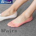 5 pairs Women's Lace Socks Brand Quality Sock Slippers Female Shallow Mouth Socks Summer Thin Ankle Boat Socks Slippers
