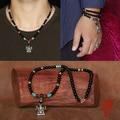 Handmade onyx beads necklace Thai 925 silver ganesh fotune buddha amulet pendant necklace tibetan buddha necklace man gift