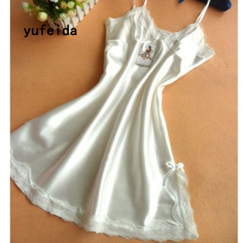 YUFEIDA Lady   Nightgown   Women Nightwear Night Dress Female Sleeveless Lace Nighty Sexy Sleepwear Sleep   Sleepshirt   Home Clothes