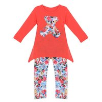 FreeShippingBaby Kids Girls Long Sleeve Irregular Hem Bear T Shirt Flower Pants Outfits 2 7Y