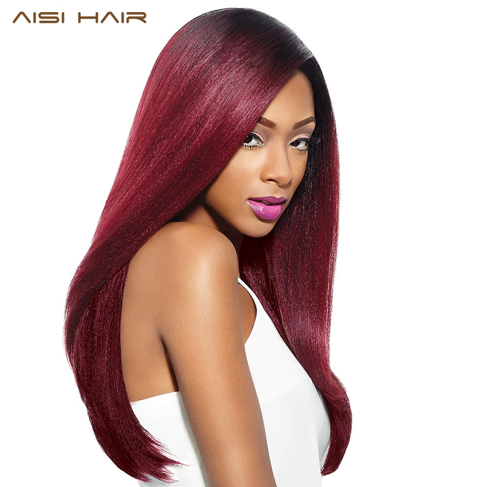 AISI HAIR Synthetic Ombre Red Wigs for Black Women Long Straight Cosplay Grey Hair Free Shipping can be Curled