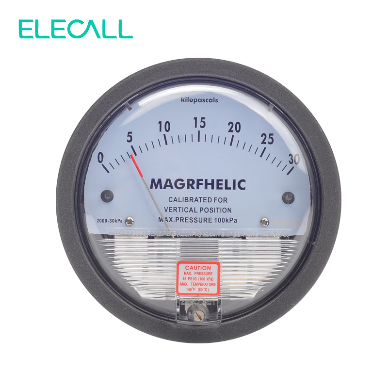 ELECALL TE2000 0-30KPA  Micro Differential Pressure Gauge High Precision 1/8 NPT Round Type Pointer Instrument Micromanometer r134a single refrigeration pressure gauge code 1503 including high and low