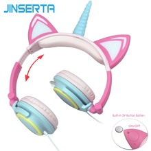 JINSERTA Flashing Unicorns Kids Headphones Foldable Gaming Headset Earphone With LED Light Ear Pods For PC Computer Mobile Phone hair band bluetooth wireless cat ear headphones gaming headset earphone with led light for pc laptop computer mobile phone