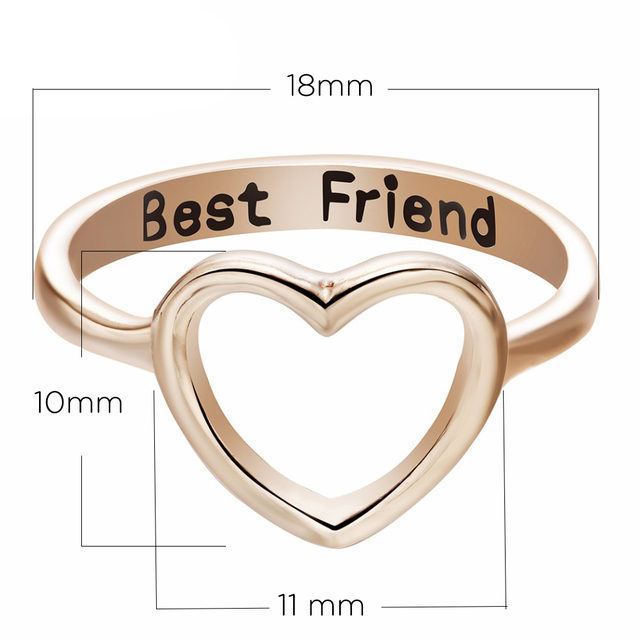Heart Shaped Best Friend Minimalism Ring