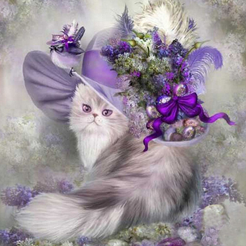 Řemesla Vyšívání Diy Diamond Výšivka Malování Kočka s Kloboukem 25x25cm Samolepka Cross Stitch pro Čtvercový Vrták Plný Drahokam