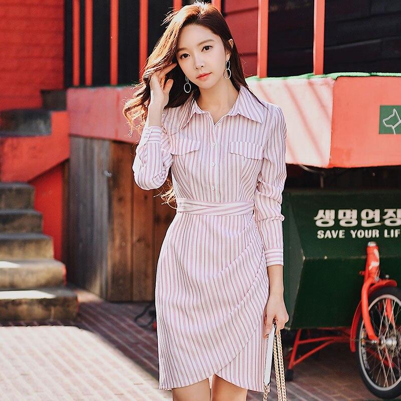 Kadın Giyim'ten Elbiseler'de Dabuwawa bahar pembe çizgili Shirtdress kızlar kadınlar için ofis bayan yeni Polo yaka uzun kollu moda Bodycon elbise DN1ADR012'da  Grup 1