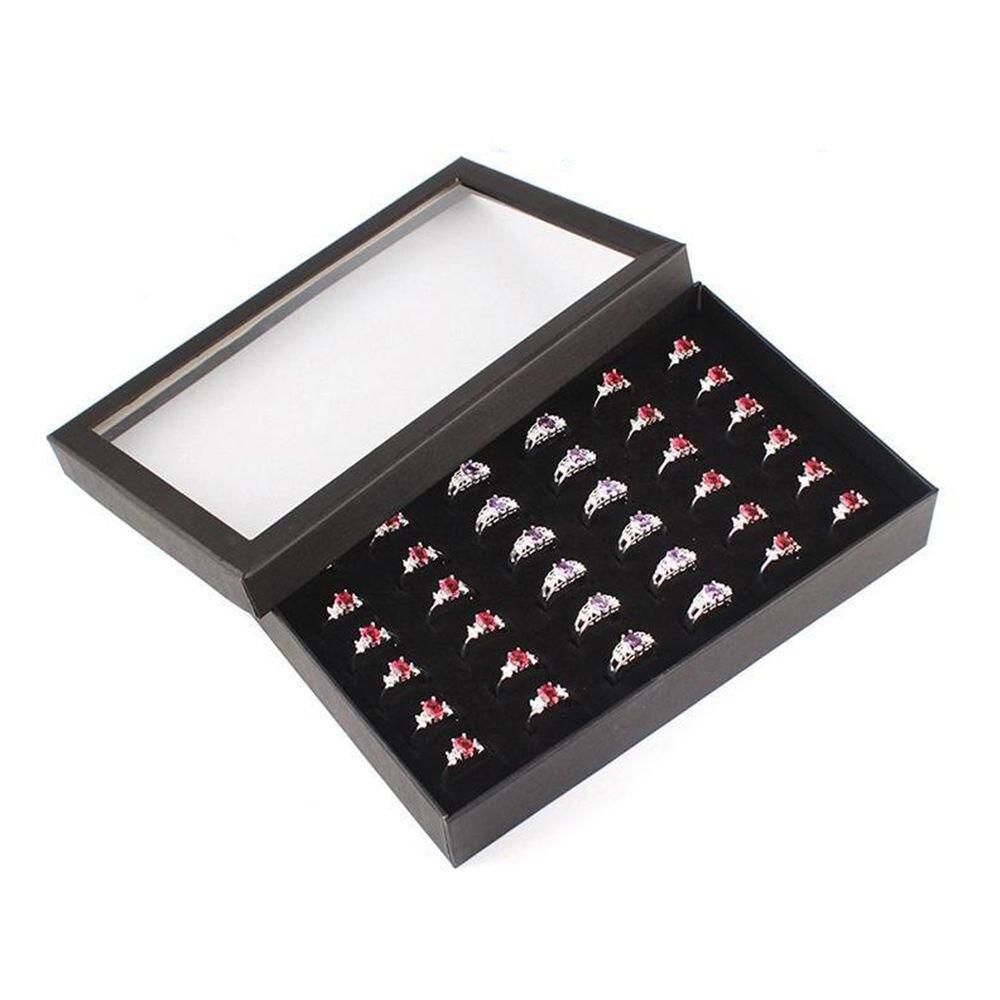 1 Pcs Exquisite Praktische Feine 36 Slots Ring Lagerung Ohr Display Box Schmuck Veranstalter Halter Transparent Fenster Zeigen Fall Lassen Sie Unsere Waren In Die Welt Gehen