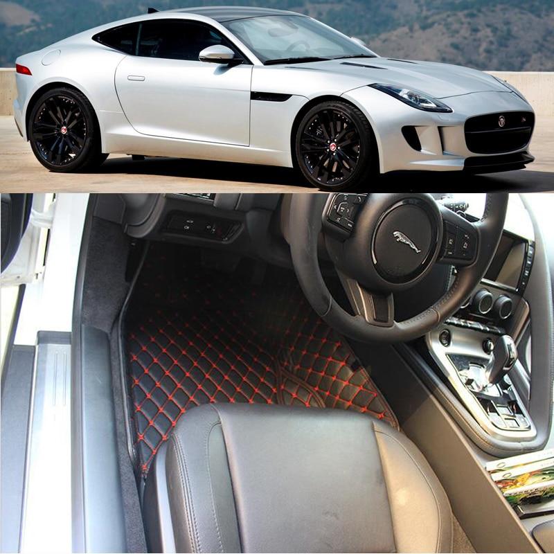 Tapis de sol de voiture pour Jaguar F-TYPE S 2012-2017 tapis de pied tapis de coussin étape broderie en cuir tapis intérieur de voiture tapis robuste