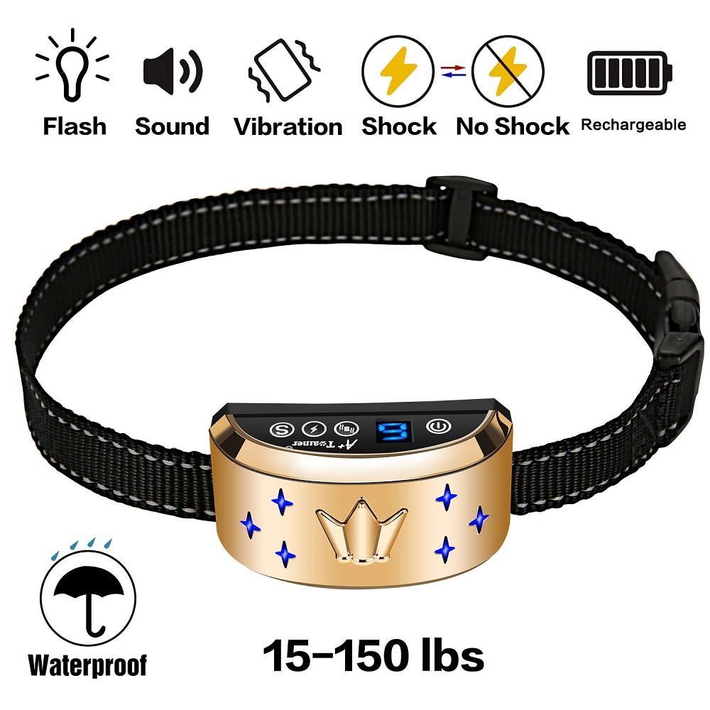 Anti Bark Anti Barking Collar Vibration Electric Shock Sound Automatic Collar For Pet Dogs IP7 Waterproof Dog Training Collars dog care training collar