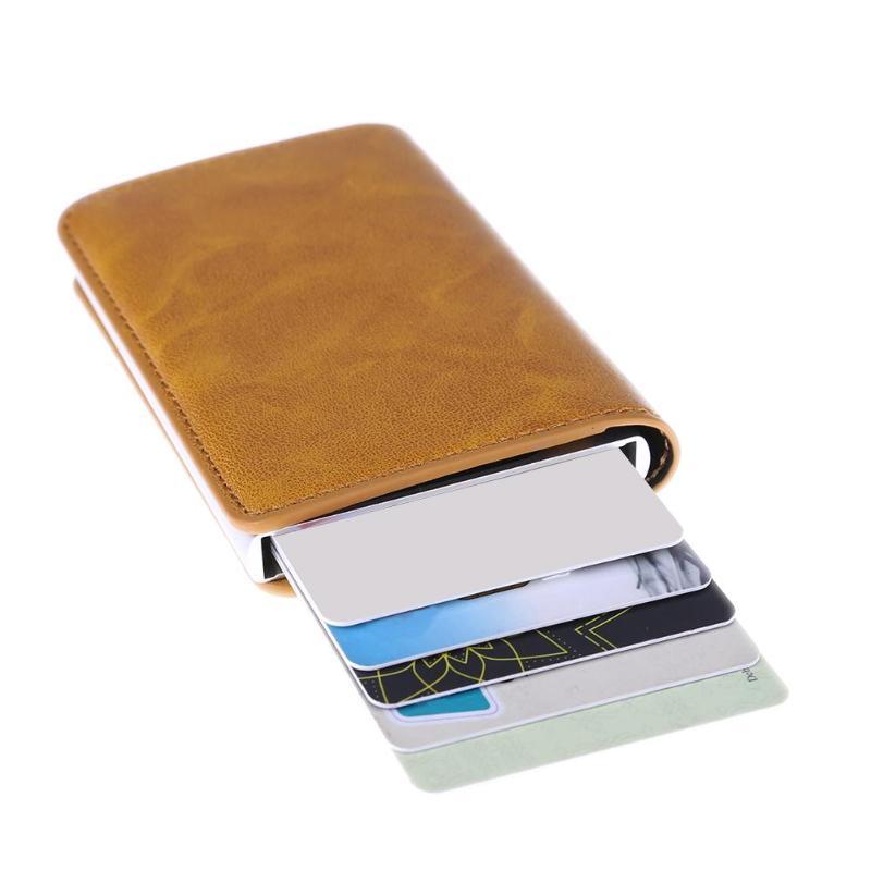 00f8d7082e57b Metall Männer Karte Halter Aluminium Legierung RFID Kreditkarte PU Leder  Brieftasche Diebstahl Männer Brieftaschen Automatische Pop Up Karten Fall  z70 ...