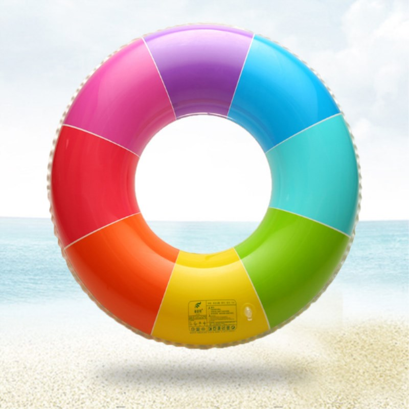 Swimming Ring Pool Inflatable Rainbow Swim Ring for Adult Children 4 Size